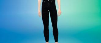 Черные летние джинсы для мужчин для Симс 4 – фото 1