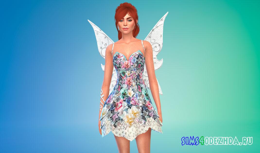 Цветочное платье феи для Симс 4 – фото 1