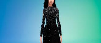 Элегантное и стильное длинное черное платье для Симс 4 – фото 1