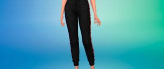 Комфортные спортивные штаны с завышенной талией для Симс 4 – фото 1