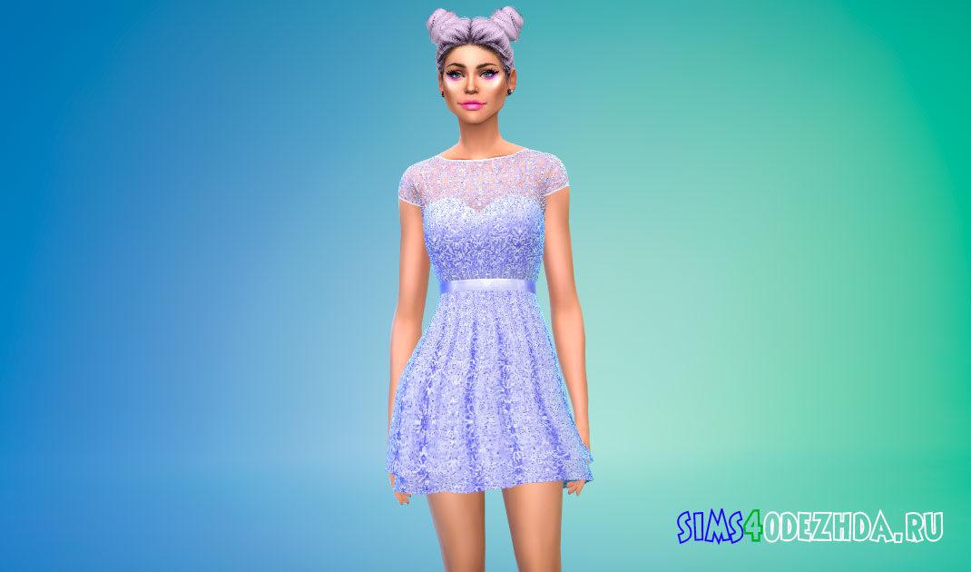 Короткое платье с кружевом для Симс 4 – фото 1
