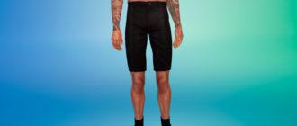 Летние элегантные черные шорты для Симс 4 – фото 1