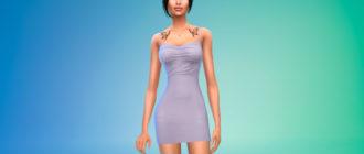 Мини-платье с узлом на спине для Симс 4 – фото 1