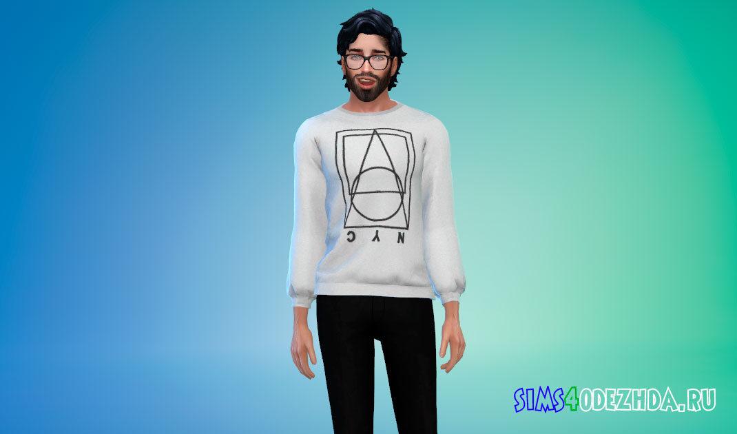 Мужские свитера с принтом для Симс 4 – фото 1