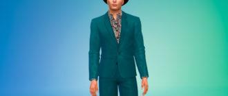 Мужской костюм с яркой рубашкой для Симс 4 – фото 1