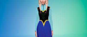 Платье Анны из Холодное сердце для Симс 4 – фото 1