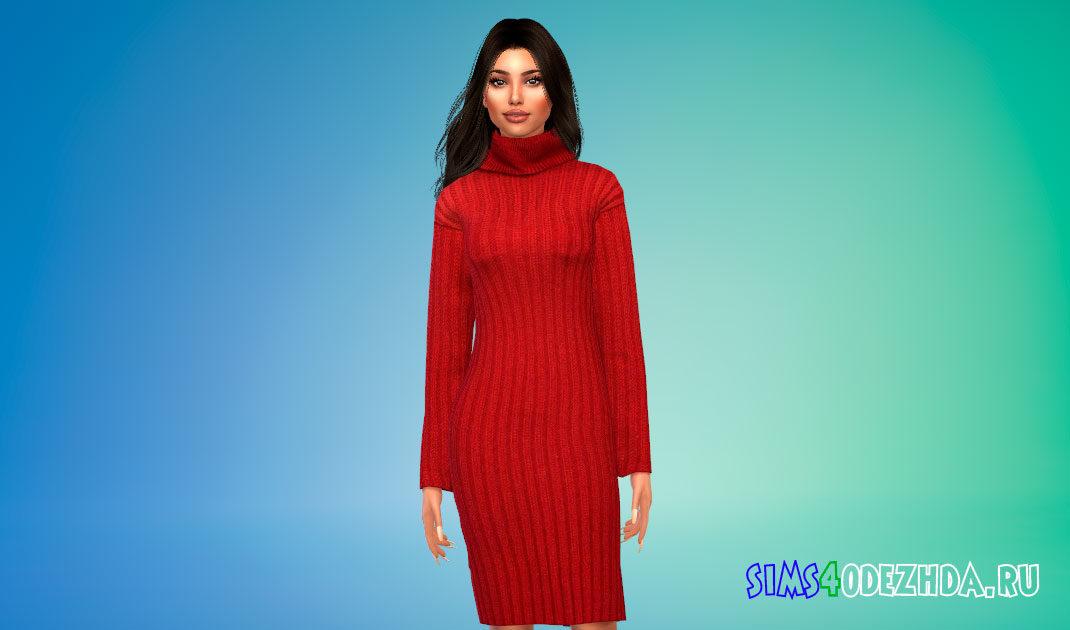 Платье-джемпер с горлом для Симс 4 – фото 1