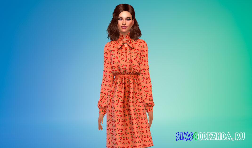 Платье с цветочным рисунком для Симс 4 – фото 1