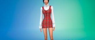 Платье с кружевным топом для Симс 4 – фото 1