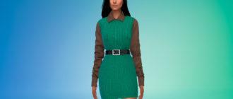 Простое платье-свитер с рубашкой для Симс 4 – фото 1