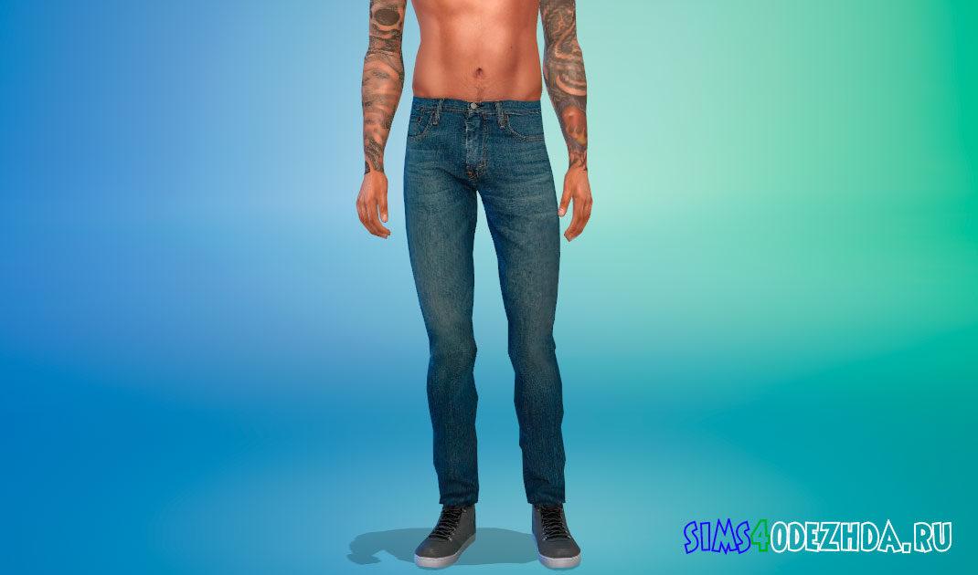 Простые джинсы для мужчин для Симс 4 – фото 1