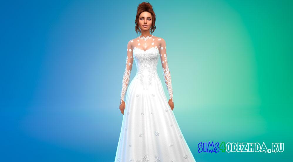 Романтическое свадебное платье для Симс 4 – фото 1