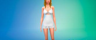 Симпатичное маленькое платье с узлом по середине для Симс 4 – фото 1