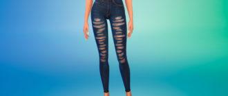 Стильные рваные джинсы-скинни для Симс 4 – фото 1