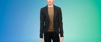 Стильный пиджак для мужчин для Симс 4 – фото 1