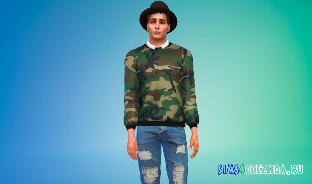 Свитера с принтом и рубашкой для Симс 4 – фото 1