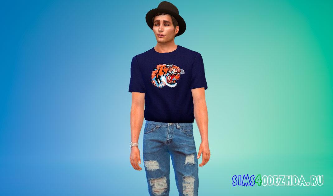 Заправленная футболка с принтами для мужчин для Симс 4 – фото 1