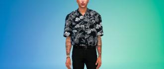Заправленная рубашка с короткими рукавами для Симс 4 – фото 1