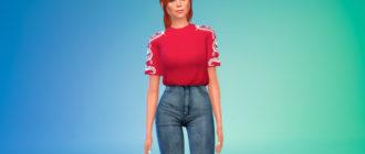 Заправленная женская футболка для Симс 4 – фото 1