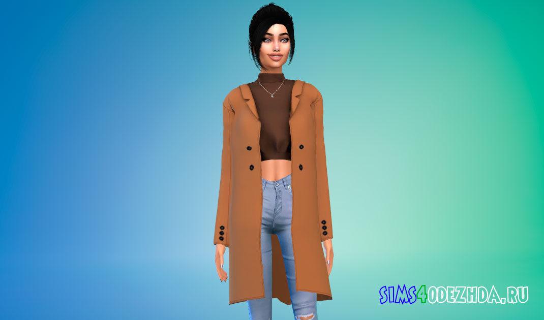 Женское теплое пальто для Симс 4 – фото 1