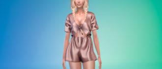 Атласный комбинезон с шортами для Симс 4 – фото 1