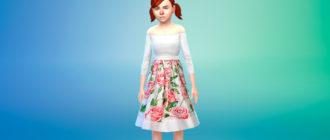 Детское цветочное платье для Симс 4 – фото 1