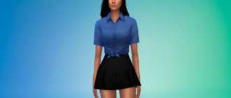 Джинсовая рубашка с узлом для Симс 4 – фото 1