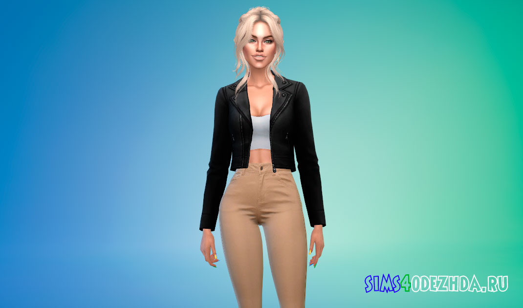 Короткая кожаная куртка для Симс 4 – фото 1