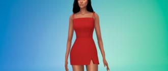 Короткое платье с зауженной талией для Симс 4 – фото 1
