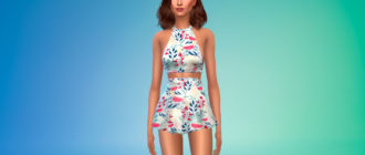 Кроп-топ и короткая юбка для пляжа для Симс 4 – фото 1