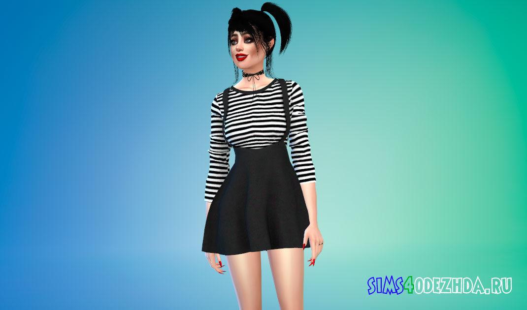 Модное платье в корейском стиле для Симс 4 – фото 1