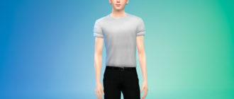 Мужская футболка с закатанными рукавами для Симс 4 – фото 1