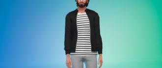 Мужская куртка-бомбер для Симс 4 – фото 1