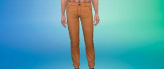 Мужские брюки с подворотами для Симс 4 – фото 1