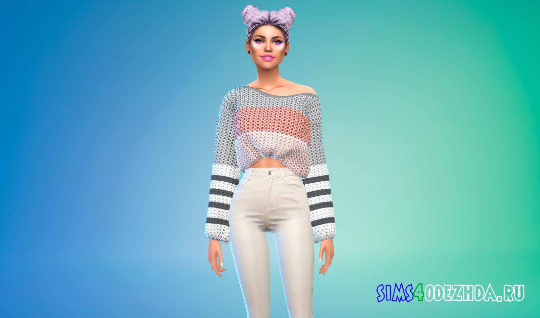 Объемный женский свитер для Симс 4 – фото 1