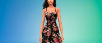 Платье с цветочным узором для Симс 4 – фото 1