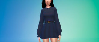 Платье с длинными рукавами и поясом для Симс 4 – фото 1