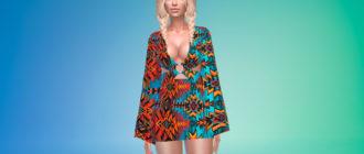 Платье с длинными рукавами в стиле бохо для Симс 4 – фото 1