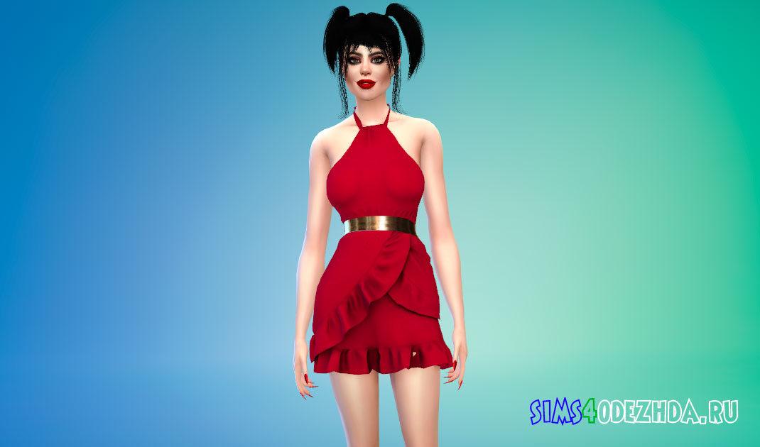 Платье с золотым поясом для Симс 4 – фото 1