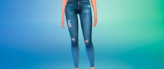 Потертые джинсы скинни для Симс 4 – фото 1