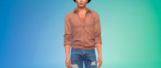 Простая расстегнутая рубашка для Симс 4 – фото 1