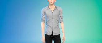 Простая рубашка с закатанными рукавами для Симс 4 – фото 1