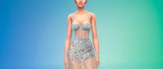 Прозрачное хрустальное платье для Симс 4 – фото 1