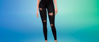 Стильные рваные джинсы с высокой посадкой для Симс 4 – фото 1