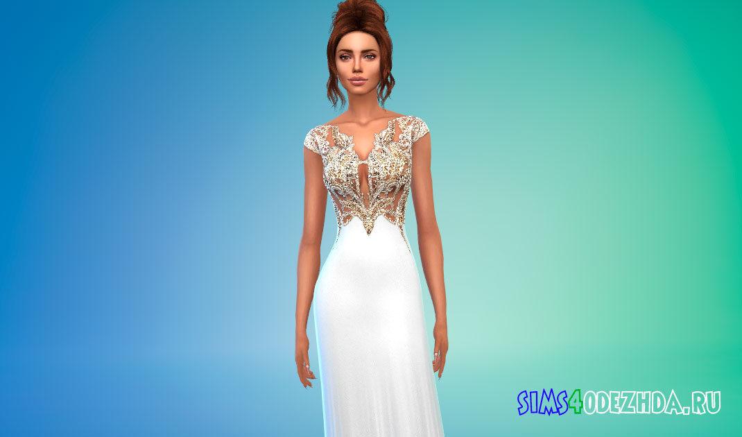 Украшенное бисером платье для Симс 4 – фото 1