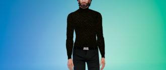 Вязаный мужской свитер с горлом для Симс 4 – фото 1