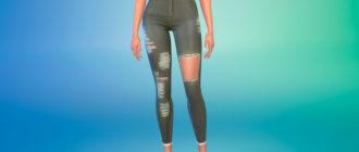 Зеленые рваные джинсы для Симс 4 – фото 1