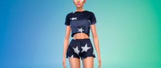 Женский пижамный комплект для Симс 4 – фото 1