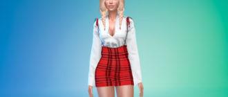 Женское платье-сарафан для Симс 4 – фото 1