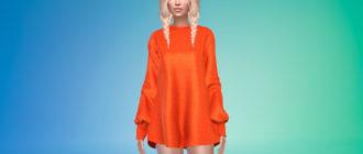 Женское платье-свитер для Симс 4 – фото 1